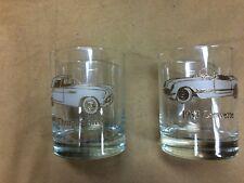 1955 Thunderbird & 1953 Corvette 1980's vintage gold gilt drinking glasses