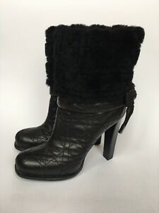 CHRISTIAN DIOR Black Leather Fur Heel Boots 38 1/2