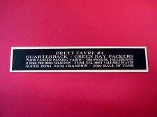Brett Favre Packers Nameplate for a Football Mini Helmet Display Case 1.25 X 6