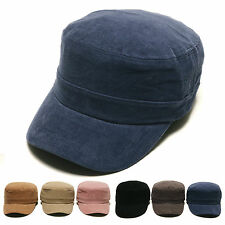 Unisex Mens Womens Solid Color Corduroy Cord Military Cadet Cap Trucker Hats