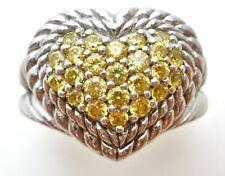 Judith Ripka Heart Ring Sterling Silver Yellow Diamonique Size 5 Jewelry Citrine