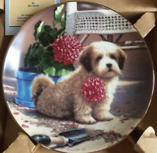 """Puppy Playtime Plate """"Weekend Gardener� Collection by Jim Lamb with Coa"""