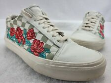 Vans Womens White Floral Check Low Top Lace Up Sneaker Shoes Size W 8.5 M 7