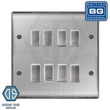 BG Brushed Steel Custom Grid Switch Panel Labelled Kitchen Appliance 8 Gang