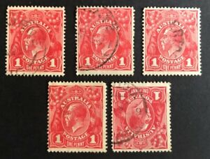 Australia KGV Penny Red - 5 different VARIETIES - Fine Used Circular cancels.