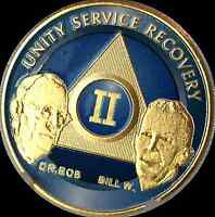 AA Founders 2 Year Chip Gold Plated Blue Alcoholics Anonymous Medallion Coin