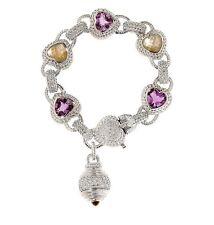 """NEW Judith Ripka Sterling 7-1/2"""" Gemstone & Diamonique Heart Bracelet GORGEOUS!"""