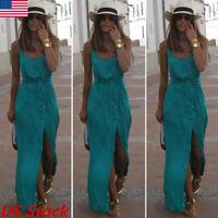 Women Ladies Boho Maxi Long Dress Summer Evening Party Beach Slit Spilt Sundress