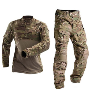 Military Tactical Combat Shirt Us Army ClothingCamouflage FishingPantsElbow/Knee