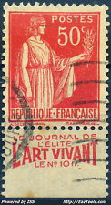 FRANCE TYPE PAIX N° 283 BANDELETTE PUB L'ART VIVANT AVEC OBLITERATION A VOIR