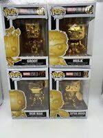 Funko Pop Marvel Gold Chrome 10th Anniversary Lot Of 4. Iron Man Cap Hulk Groot