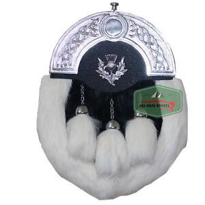 White Fur Rabbit Three Teasel Sporran With Leather Chain Belt