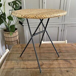 VINTAGE FOLDING TABLE Side Table HABITAT Rattan Metal 54h x 50d