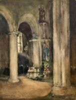 Emily Murray Paterson, RSW, SWA, RA (1855–1934) Watercolour, Cathedral Interior
