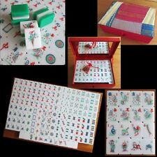 156 Tiles, Green Tri-Color, Hand Carved Tiles, Mahjong Set Box Vtg Mah Jongg