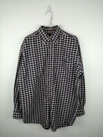 VINTAGE MENS FLANNEL SHIRT BRITCHES SIZE L DARK BLUE CHECK LONG SLEEVE BUTTON UP