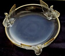 Vintage JEANNETTE Glass Candy Dish, 3 Footed Eagles, Gold Trim
