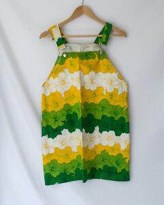 Handmade Pinafore Dungaree Dress Medium AU 10 12 Yellow Green Hibiscus Pattern