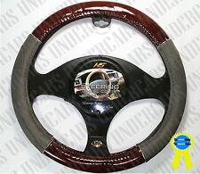 New Gray Wood Grain Design Car Steering Wheel Cover Wheel Size Luxury