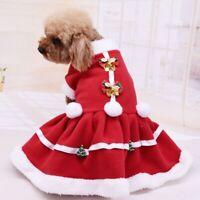 Pet Dog Puppy Christmas Santa Shirt Clothes Costumes Warm Jacket Coat Apparel