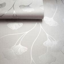 Floral Wallpaper Flowers Grey Silver Metallic Shimmer Holden Decor Ginkgo
