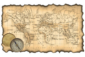 Ancient Map of the World Antique Style Map Poster 18x12 inch