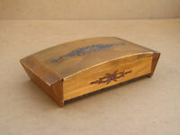 Old Antique Vintage Wooden Wood Jewelry Trinket Box Case Cabinet with Silk 1970'