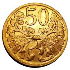 Uncirculated 1947 Czechoslovakia 50 Haleru Beautiful Red Coin