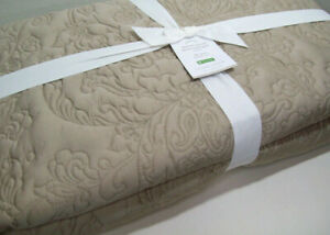 Pottery Barn Taupe Brown Tencel Lyocell Floral Stitch Full Queen Quilt New