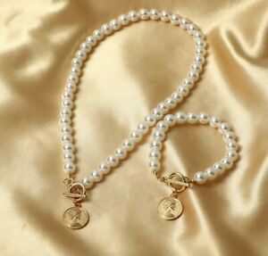 Pearl Necklace Bracelet set With Coin Pendant Birthday Christmas gift 190