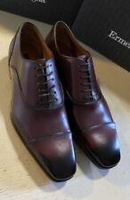New $895 Ermenegildo Zegna Couture Oxford Leather Shoes Burgundy 9 US Italy