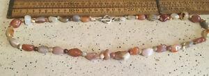 Vintage Necklace, Vintage Polished Stone Bead Necklace