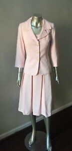NWT Talbots Linen 2 Piece Pleated Jacket Pale Pink Midi Dress Suit Size 6 $228