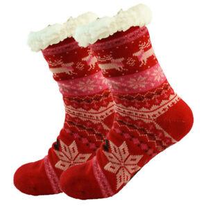 Womens Winter Non-Skid Sherpa Fleece-lined Cozy Fuzzy Thermal Slipper Socks Lot