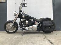 ZEUS BLACK Seitenkoffer Satteltasche groß linke seite Shovelhead HD Panhead Dyna
