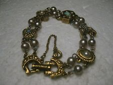 Vintage Double Strand Bracelet, Heart, Moon, Links, Faux Turquoise & Pearls, 7: