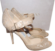Jimmy Choo Beige Lace Peep-Toe Mary Jane Pump 38 Sandals Shoes