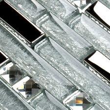 11-PCS Backsplash Tile Silver Metallic Glass for Kitchen & Bathroom Walls YG001