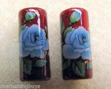2 Japanese Tensha Beads BLUE ROSE on RUBY PIPE Beads 18mm