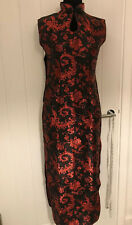 Vintage black/red Chinese Party Sleeveless Dress Size L in Uk 10/New With Defect