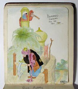 Antique 1920 ORIGINAL ART Commonplace Book HANDWRITTEN ALBUM Sketchbook Journal