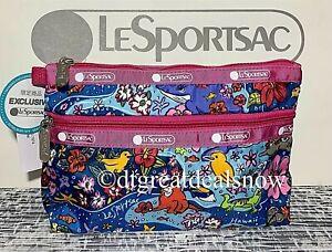 NWT LeSportsac Cosmetic Clutch Hawaii Wild Life Hawaiian Exclusive 7105 K832 P1