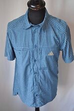 Adidas climalite blue check short sleeve shirt size small classic