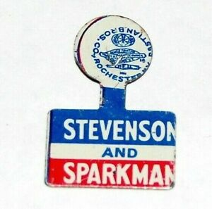 1952 ADLAI STEVENSON JOHN SPARKMAN TAB campaign pin pinback button political
