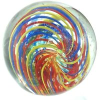 Vintage Hand Blown Glass Ribbon Swirl Paperweight Multicolor M764
