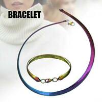 Women Colorful Collar Necklace Bracelet Sets Stainless Steel Chain Jewelry Sets
