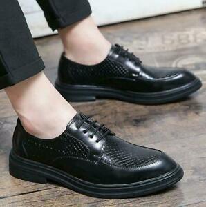 Men's Leisure Fashion Leather Wingtip Formal Serpentine Business Dress Shoes