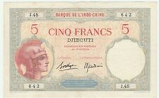 "Djibouti billet 5 Francs ""Wahlain"" Banque Indochine / French Somaliland banknote"