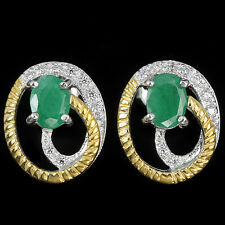 Natural EMERALD & WHITE CZ Stones Sterling 925 Silver EARRINGS 2-Tone
