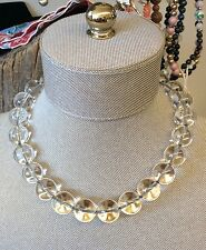 Wow!!! Antique Drilled Pools Of Light Silvertone Necklace Choker With 14k Clasp